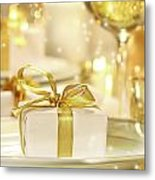 Little Gold Ribboned Gift Metal Print
