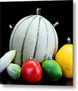 Little People Hiking On Fruits Metal Print