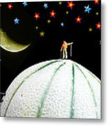 Little People Hiking On Fruits Under Starry Night Metal Print