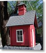 Little Red Birdhouse Metal Print