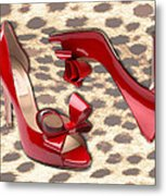 Little Red Bow Peep Toes Metal Print