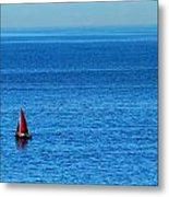 Little Red Sailboat Giant Blue Sea Metal Print