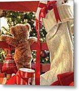 Little Teddy Bear Looking Through Chair Metal Print