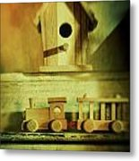 Little Wooden Train On Shelf Metal Print by Sandra Cunningham