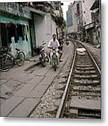 Living By The Tracks In Hanoi Metal Print