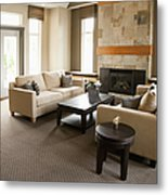 Living Room In An Upscale Home Metal Print