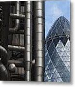Lloyds Of London And The Gherkin Building Metal Print