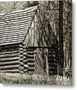 Log Building In The  Woods Metal Print