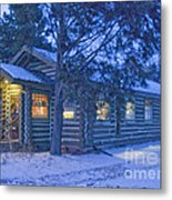 Log Cabin Library 1 Metal Print