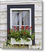 Log Home And Flower Box In The Window Metal Print