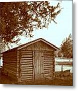 Log Shed In The Shade Metal Print