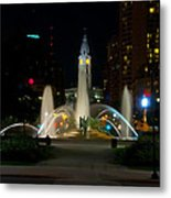 Logan Circle Fountain With City Hall At Night Metal Print by Bill Cannon