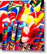 Lollipops - Painterly - Red Metal Print
