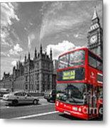 London Big Ben And Red Bus Metal Print