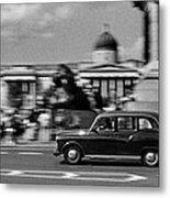 London Cab In Trafalgar Square Metal Print