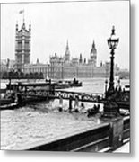 London England - House Of Parliament - C 1909 Metal Print