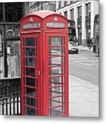 London Phone Box Metal Print