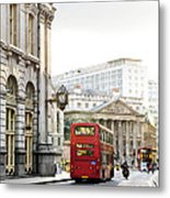 London Street With View Of Royal Exchange Building Metal Print