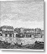 London: Waterfront, 1750. /nlondon Bridge And Dyers Wharf. Wood Engraving After A Painting By S. Scott, C1750 Metal Print