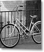 Lonely Bike In Black And White Metal Print