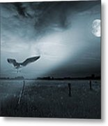 Lonely Bird In Moonlight  Metal Print by Jaroslaw Grudzinski