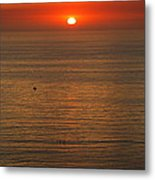 Lonely Boat In Quiet Move Metal Print