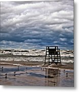 Lonely Lifeguard Chair 2 Metal Print