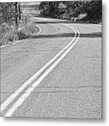 Long And Winding Road Bw Metal Print