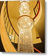 Long Chandelier Lights Up The Wall Metal Print