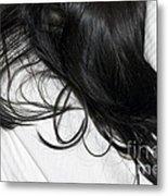 Long Dark Hair Of A Woman On White Pillow Metal Print