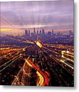 Long Exposure Of Cityscape Metal Print