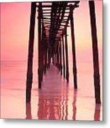 Long Exposure Wood Bridge To The Sea Metal Print