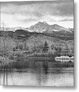 Longs Peak And Mt Meeker Sunrise At Golden Ponds Bw  Metal Print