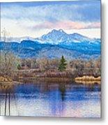 Longs Peak And Mt Meeker Sunrise At Golden Ponds Metal Print