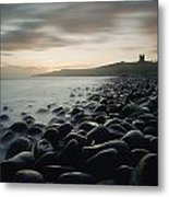 Looking Along Boulder Covered Beach Metal Print