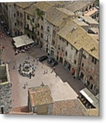 Looking Down On The Red Tile Rooftops Metal Print