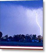 Looking East Lightning Strike Metal Print