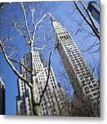Looking Up Through Trees At Skyscrapers Metal Print by Axiom Photographic