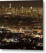 Los Angeles  City View At Night  Metal Print