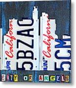 Los Angeles Skyline License Plate Art Metal Print