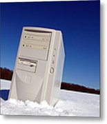 Lost Computer In Snow Metal Print