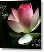 Lotus Flower Holiday Card Metal Print