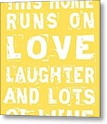 Love And Lots Of Wine Poster Metal Print