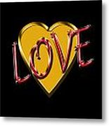 Love Gold And Red Metal Print