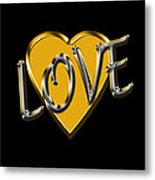Love In Gold And Silver Metal Print