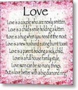 Love Poem In Pink Metal Print