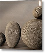 love you forever - An engraved message gives light to a stone heart Metal Print