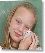 Lovely Girl With Pet Metal Print