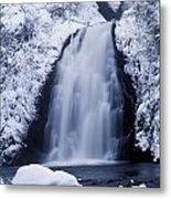 Low Angle View Of A Waterfall, Glenoe Metal Print