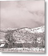 Low Clouds On The Colorado Rocky Mountain Foothills 3 Bw Metal Print